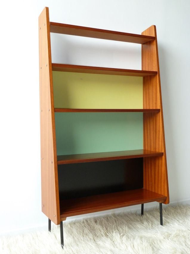 Anonymous; Wood Veneer, Lacquered Wood and Enameled Metal Bookcase, 1950s.  Home decor