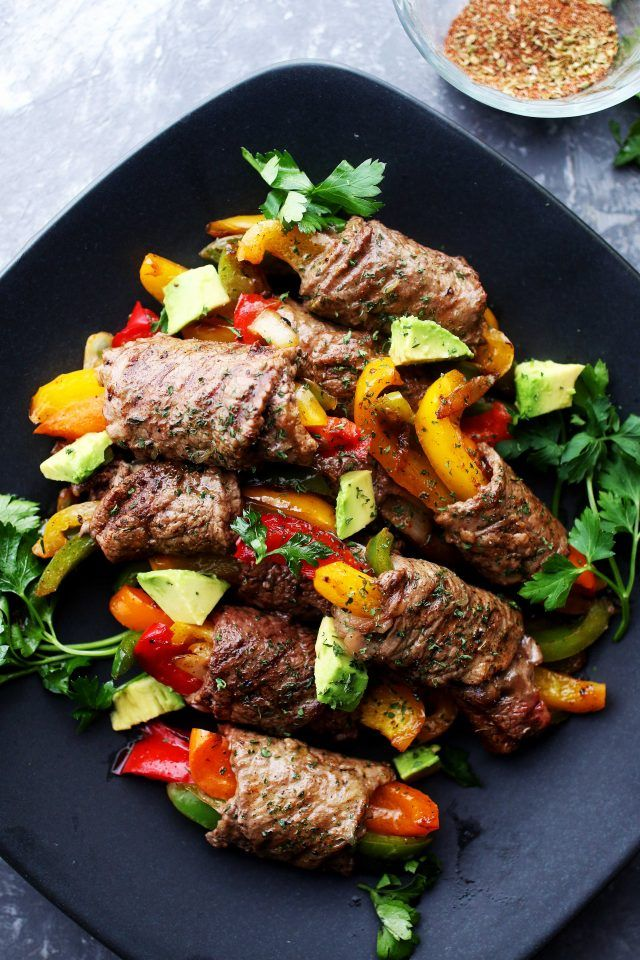 Steak Fajita Roll-Ups - Ditch the flour tortillas and make this amazing low-carb version of your favorite steak fajitas!