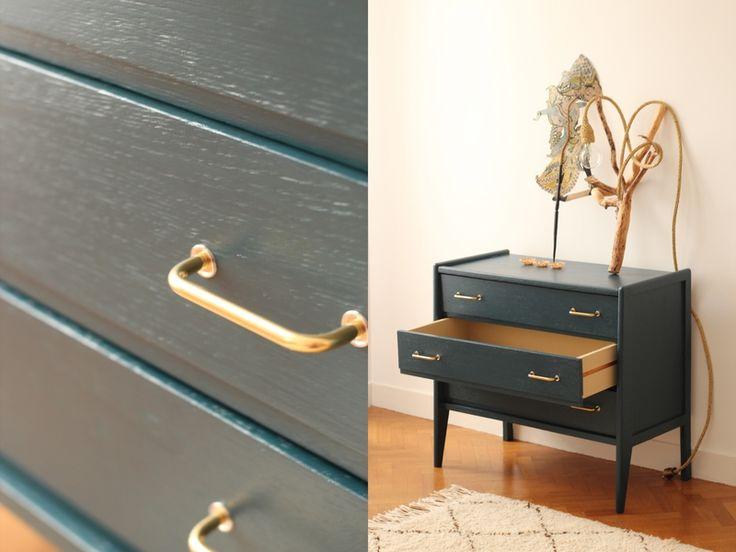 Commode vintage ann es 50 60 bleu nuit chambre enfant trendy little 5 d co commode vintage - Deco chambre annee 60 ...