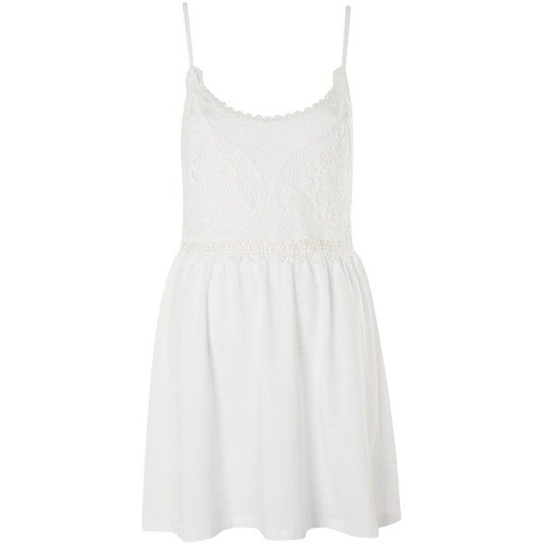 Petite Women's Topshop Crochet Trim Sundress ($55) ❤ liked on Polyvore featuring dresses, white beach dresses, petite sundresses, sun dresses, white mini dress and mini dress