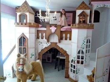 Princess Castle Bed and playhouse for a girls bedroom  I want this myself.