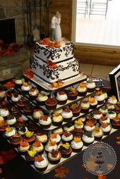 Wedding, Cake, Centerpiece, Green, Red, Orange, Brown, Cupcakes