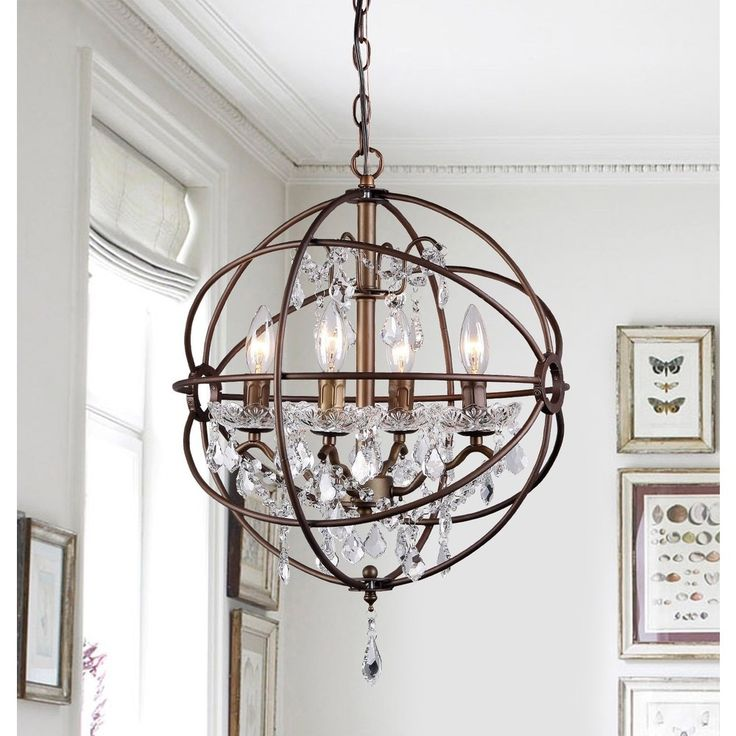 Edwards Antique Bronze 16-inch Crystal Chandelier - 16696171 - Overstock - Great Deals on Warehouse of Tiffany Chandeliers & Pendants - Mobile