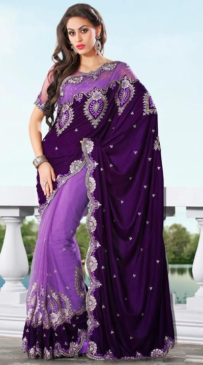 USD 145.26 Purple Embroidery Net Wedding Saree 28889