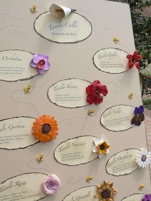 Tableau di matrimonio: idee originali - Tableau con fiori veri