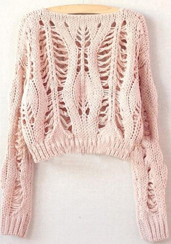 Pink Hollow-out Collarless Wrap Short Synthetic Fiber Pullover