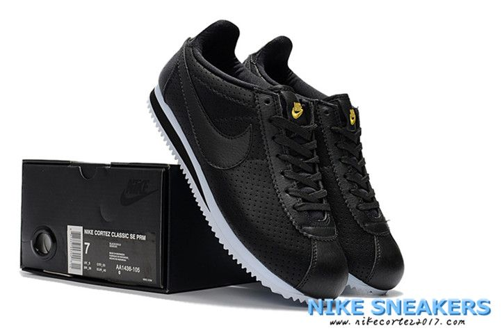 the best attitude c35f3 5d5a5 Nike Classic Cortez Mens Running Shoes Breathing Hole Black Golden