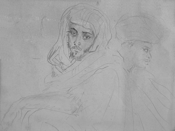 CHASSERIAU Théodore,1846 - Deux Arabes assis - drawing - Détail 01