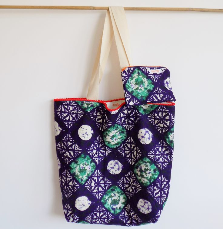Summer set with bag and purse, handmade in Italy with a vintage real wax cotton fabric
