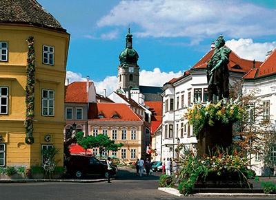 "Győr, Hungary. Old Downtown, ""Danubegate Square"" (Dunakapu Tér)"