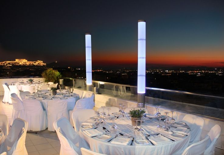 During the summer months, the St'Astra Roof Garden, an area around the pool and with a background setting of the Acropolis, Lycabettus and the Park gives an extra choice for an evening function. http://www.rbathenspark.com