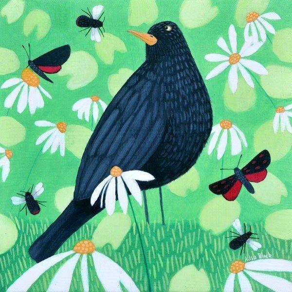 Buzzing The Blackbird Original by Ailsa Black #art #artist #scotland #bird #blackbird #butterflies #bees #bumblebees #green #white #daisies #York #Yorkshire #littleacorns