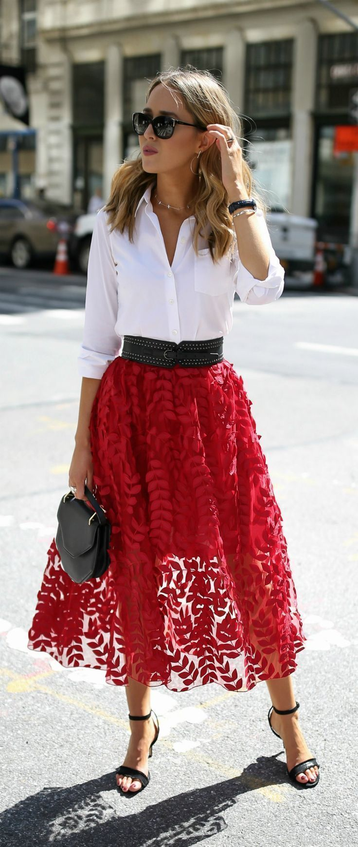 Click for outfit details! Red lace applique tulle …