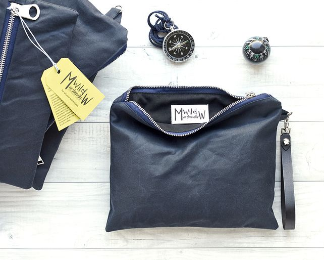 Navy blue waxed canvas toiletry pouch, wristlet
