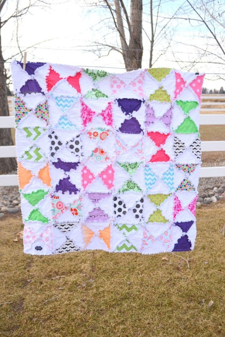 Girl Rag Quilt Hourglass Baby Blanket Crib Size Quilt