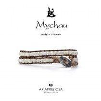 Mychau - Bracciale Vietnam originale realizzato con Madreperla su base bracciale col. Marrone Chiaro