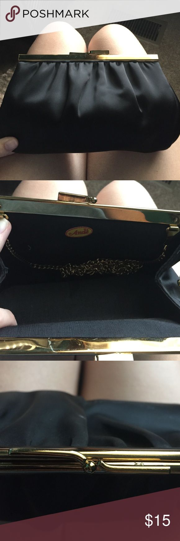 Black & Gold Clutch Perfect for prom! In really good shape! Bags Clutches & Wristlets