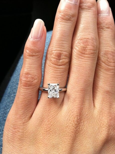 1.6 Carat Rectangular Radiant Engagement Ring. PERFECT!!!