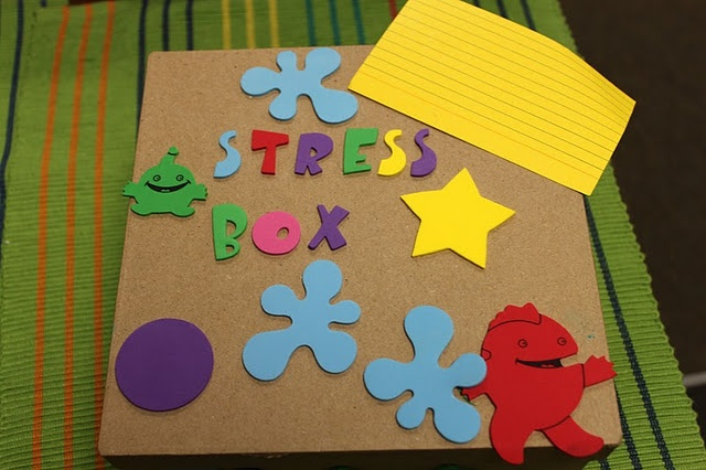 Add clay instead of playdough, add something for body relaxation(can be laminated cards on a ring - progressive muscle relaxation), something for deep breaths - pin wheel, etc ....and you have your self a stress box. I like to ad a notebook and pen for writing it out for older kids. I just really like this box...the way they decorated it. It's great. A 3 minute sand timer is a great thing for these too!