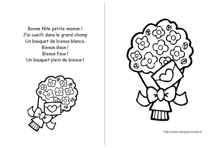 Comptine bonne fete petite maman maternelle enfant bouquet cadeaux papa maman - Coloriage fleur tps ...