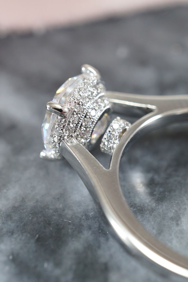 Micro Pave Diamond Engagement Ring Engagement Rings Diamond