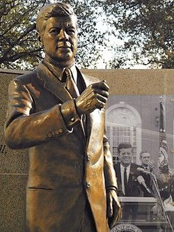 The John F. Kennedy statue in Fort Worth stands near the spot where the president gave his last public address before heading to the motorcade that carried him through Dealey Plaza in Dallas.