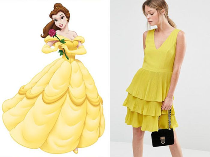 Be the Belle of the summer ball with this yellow pleated tiered dress.