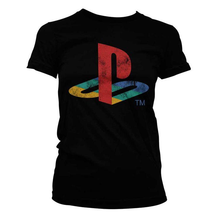Hybris PlayStation - Distressed Logo dames T-shirt zwart - Games merch