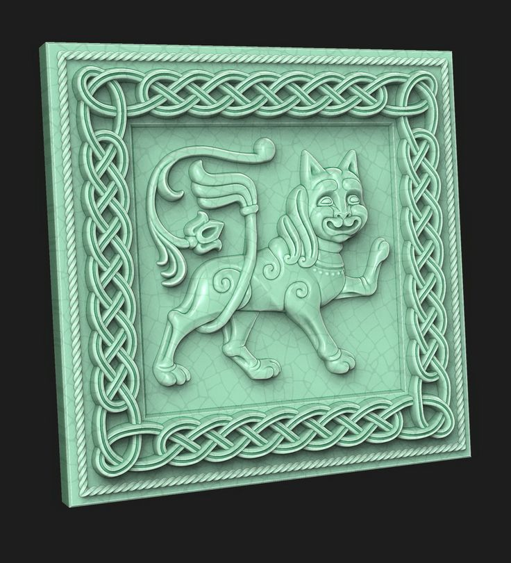 Leo II. (tile). 3D model for CNC milling machine. Simulation programs: MoI, ArtCam, ZBrush. Private order.