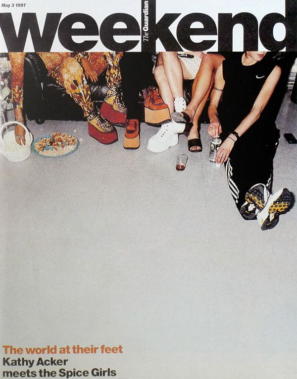 amazing cover for The Guardian Weekend. photo of the Spice Girls by Nigel Shafran. art direction by Mark Porter