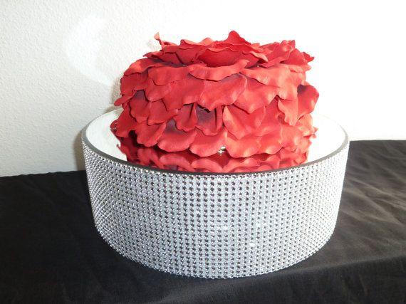 "16"" round silver bling rhinestone wedding cake stand, cake pop stand, candy buffet display, cake riser"