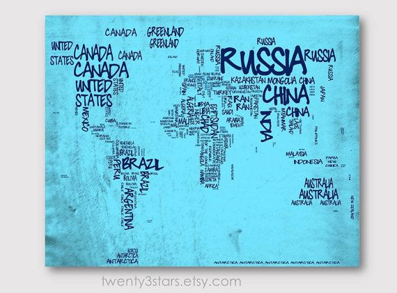 World Map Typography Map 8x10 Print, Choose Your colors, Typographic Atlas Art with Country Names word art shown in light and dark blue