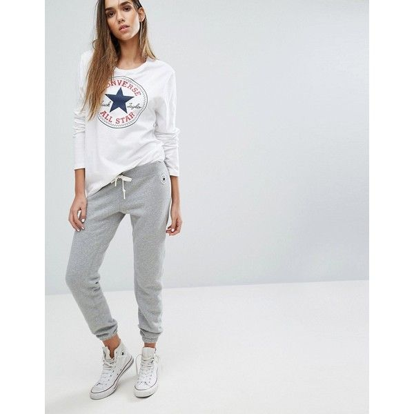 Converse Slim Sweat Pants In Grey (722.440 VND) ❤ liked on Polyvore featuring activewear, activewear pants, grey, cuffed sweatpants, gray sweatpants, tall sweatpants, cotton sweatpants and slim fit sweatpants