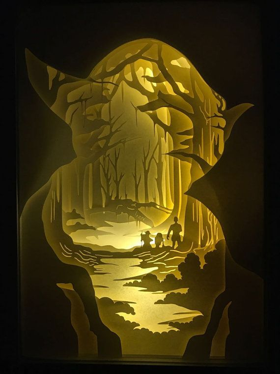Silhouette star wars paper cut Light box Night light yoda Star Wars Gift birthday gift idea shadow box kids baby nursery room art lightbox