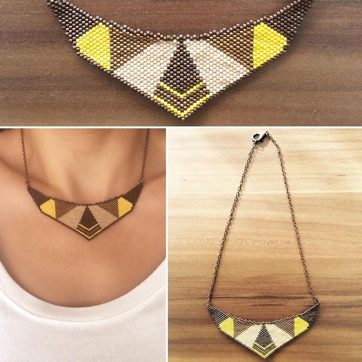 Miyuki boncuklarla işlenmiş kolye bilgi ve sipariş için  5333550280 #insta #instagood #instacollage #instagram #instamood #miyukibead #miyukidelica #miyukiaddict #miyukinecklace #necklace #fashion #trend #brown #yellow #handmade #miyukiboncuk #miyukikolye #kahverengi #sarı #moda #kolye #takı #elyapımı #takı #elyapımıtakı
