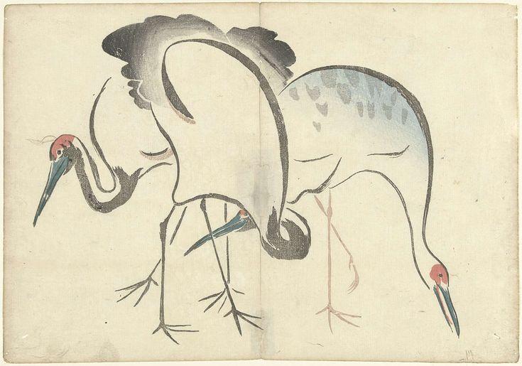 Twee kraanvogels, Nakamura Hochu, Izumiya Shojiro, 1826
