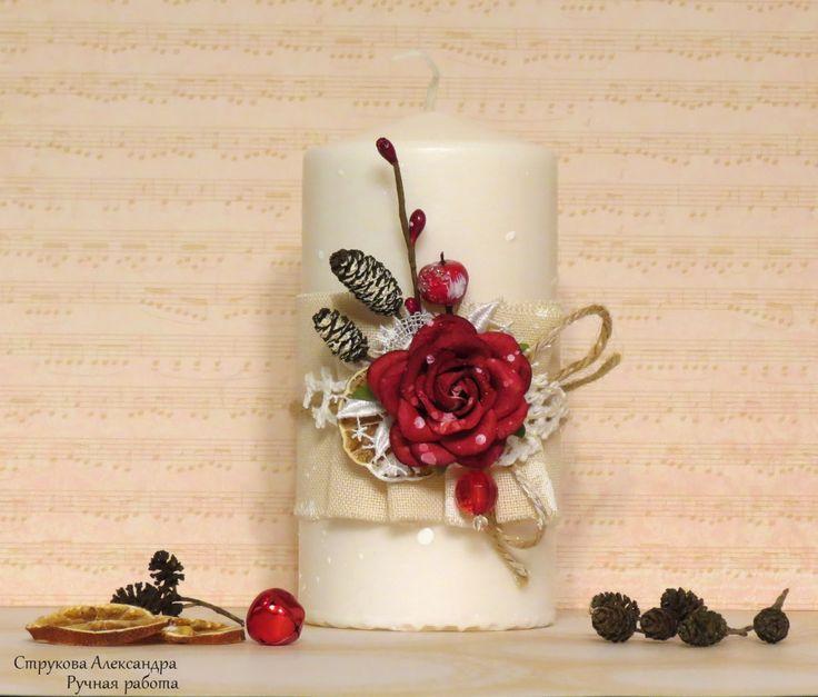 """Бумажные розы: СП """"Цветочный новый год"""" с Еленой Олиневич, 5 этап декор свечи"""