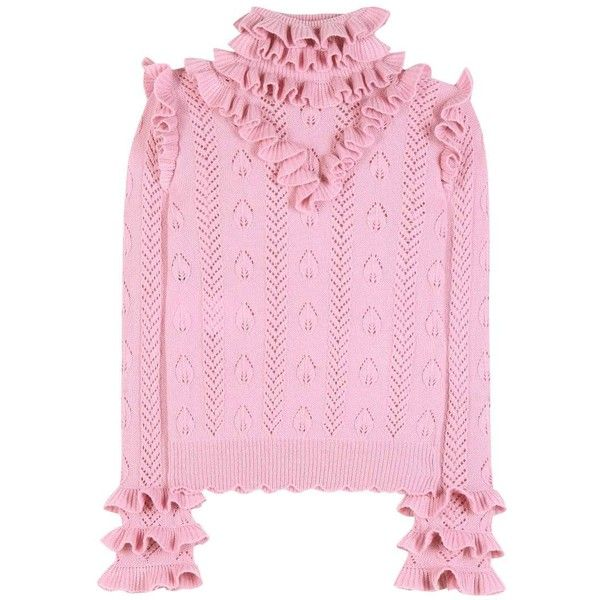 Gucci Ruffled Wool-Blend Pointelle Sweater ($1,490) ❤ liked on Polyvore featuring tops, sweaters, gucci, pink, ruffle top, gucci sweater, wool-blend sweater, flutter-sleeve top and pink sweater