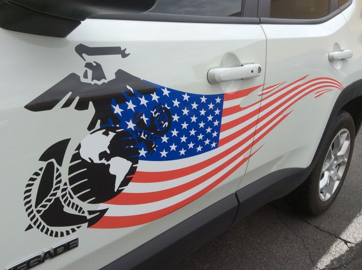 Marine corps and american flag decals install marines flag vinyl print