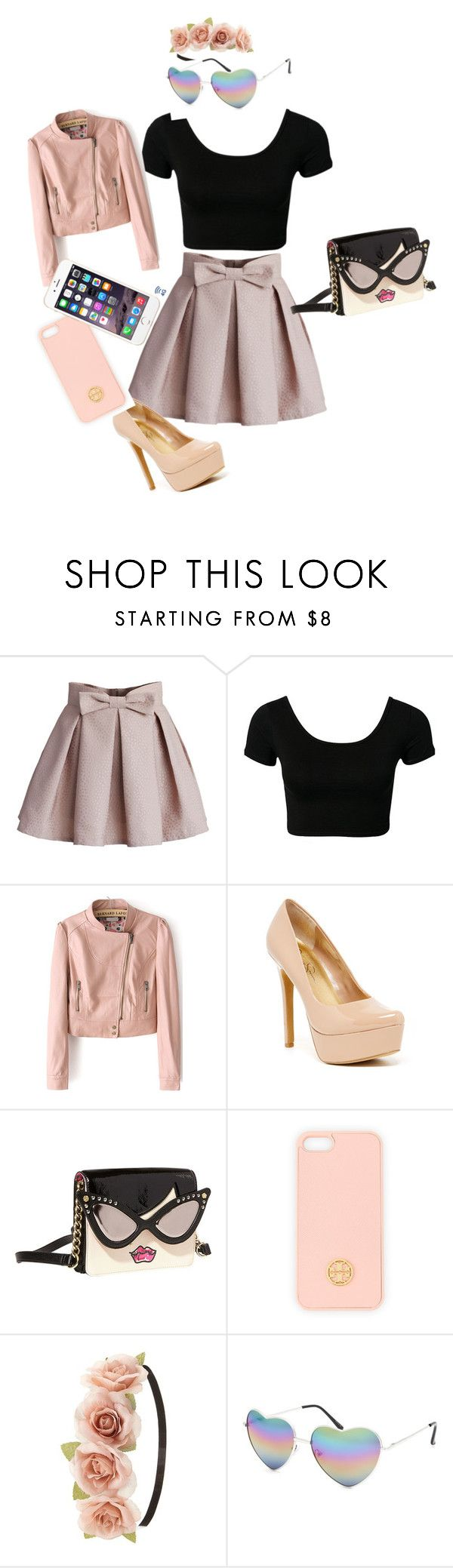 """Cute outfit"" by koraljackson ❤ liked on Polyvore featuring Chicwish, Jessica Simpson, Betsey Johnson, Tory Burch, Charlotte Russe and Full Tilt"