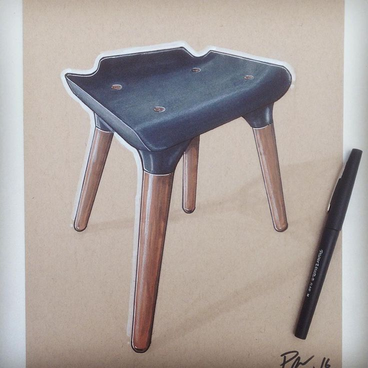 Pilot bar stool. Thanks @reid.schlegel for coming to tech to show us some of your methods. #touchmarker #productdesign