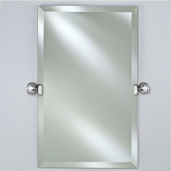 Afina Radiance Collection Rectangular Frameless 1 Beveled Wall Mirror With Decorative Transitional Tilt Brackets Bathroom