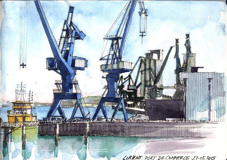 Vue depuis la terrasse de la gare maritime des bateaux pour Groix Aquarelle sur carnet Moleskine 30x21