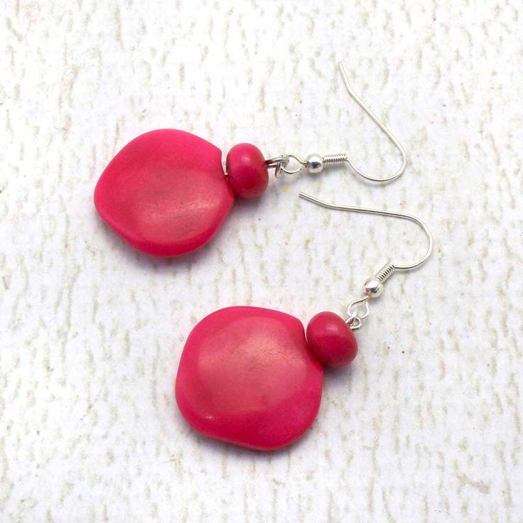 Hot Pink Earrings - Fair Trade Earrings - Tropical Earrings - Hippie Earrings - Tagua Jewelry - Simple Earrings - Good Presents for Mom 3580 by ArtisansintheAndes on Etsy