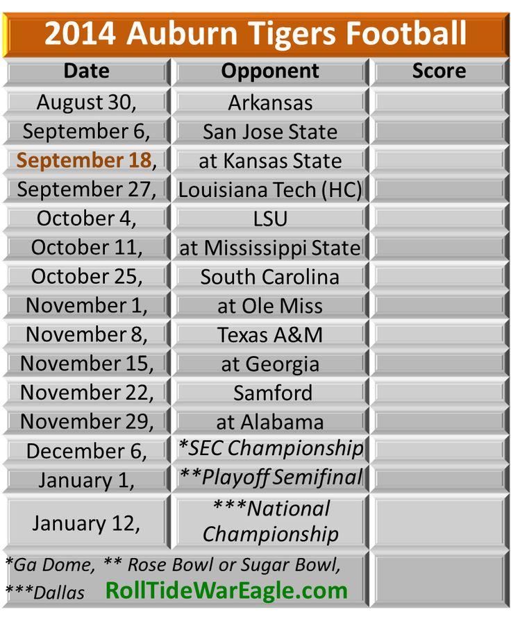 Auburn Football Schedule from the blog www.RollTideWarEagle.com #WarEagle #Auburn #CollegeFootball
