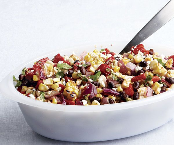 Spicy Grilled Corn Salad with Black Beans & Queso Fresco