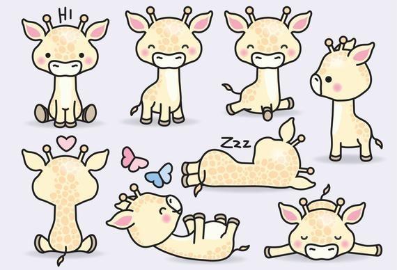 Premium Vector Clipart Kawaii Giraffes Cute Giraffes Etsy In 2021 Cute Drawings Kawaii Clipart Cute Doodles