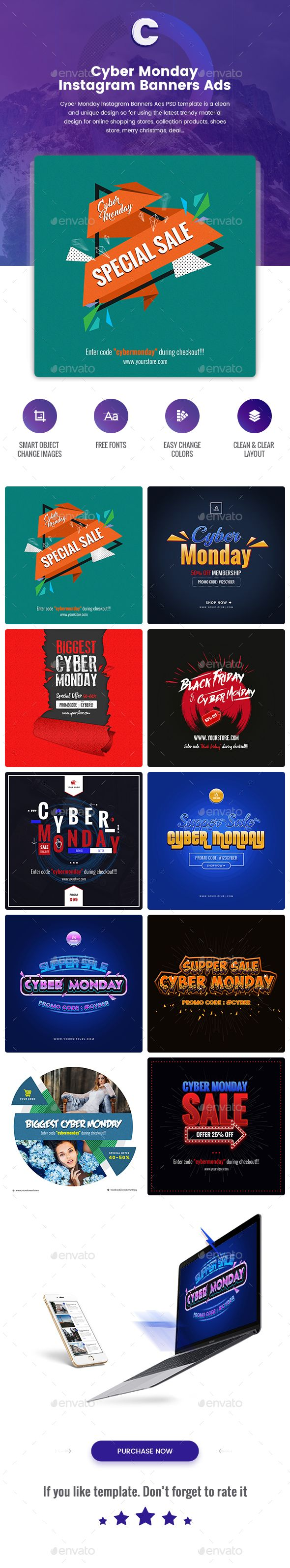 Cyber Monday Instagram Banners Ads - 10 PSD [NewSize]  Download Here :  https://graphicriver.net/item/cyber-monday-instagram-banners-ads-10-psd-newsize/19002197?ref=iDoodle