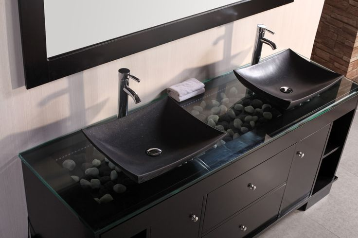 Bathroom Sink Bowls with Vanity : Cool Modern Bathroom Design With Black Vanity Designed With Glassed Top And Pebbles Complete With Square Black Bowl Sinks And Stainless Faucets Also Rectangular Black Framed Mirror