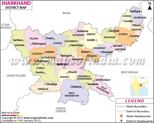 District Map of Jharkhand
